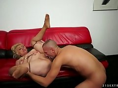 Big boobed fat mature witch gets her holes stuffed
