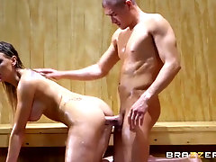 Light-Haired female with gigantic titties, Kenzie Taylor got her daily portion of screw in the sauna
