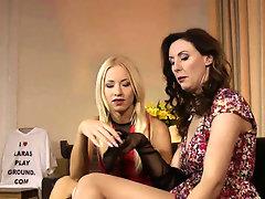 Teen and milf enjoy kinky lesbian foreplay