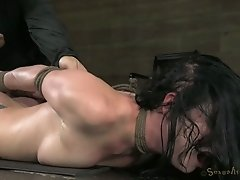 Tattooed porn model Veruca James gets her pussy fucked by furious dude on the floor