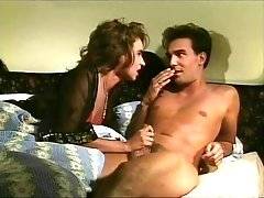 Sex Obsessed Retro Brunette Strokes Thick Dick Of Shy Dude
