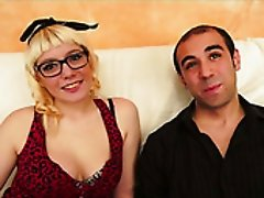 Dumpy blond filth in glasses Melody Sweet blows hard cock of her buddy Kevin