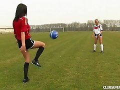 Two female soccer players practice and eat pussy on the field