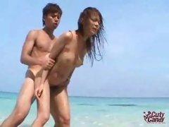 Noisy Asian Fucked on the Beach