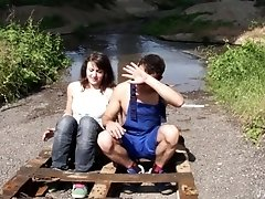 Brunette MILF babe Lucy rides a big fat cock outdoors