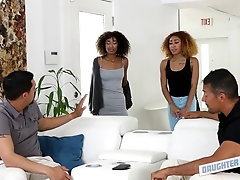 Gorgeous ebony twins with curly hair compete in dick sucking