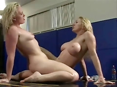 blonde lesbians oily pussy wrestling