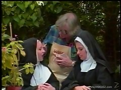Naughty nuns are spanked butt naked