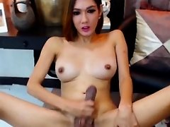 Cute Shemale with Big Tits Masturbates Her Big Cock