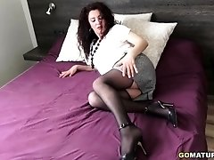 3 Spanish old and young lesbians playing with each other