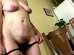 Beautiful babe Marisah licks her hard nipples while she masturbates