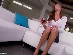 Silvia Saige gets her tight pussy fucked and her cute feet jizzed on