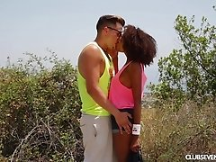 Lovely ebony girl with a slim body Luna Corazon fucking outdoors