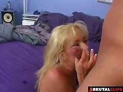Pretty blonde sucks his dick and gets ass fucked roughly
