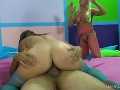 Drunk hungry studs enjoy hard orgy with busty streetwalkers