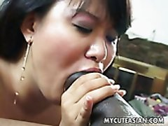 Chubby Asian lady Runa Hayama is amazed with the size of BBC