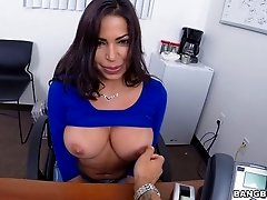 Tattooed Latina cowgirl having her big tits fondled before getting nailed doggystyle in reality shoot