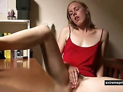 My hot girlfriend  masturbates at dining table