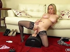 Savory blonde impales her pussy on the most realistic dildo