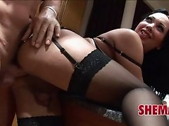 Bareback cock bangs into her slutty tranny asshole