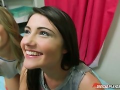Adria Rae and her girlfriend suck dick and get fucked hard