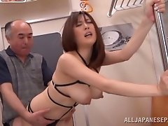 Icy hot Japanese sex bomb fucked hardcore in a savory mmf threesome