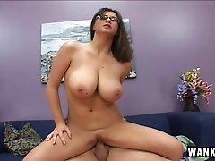 Nerdy Sara Stone feasts on his big cock and moans in delight