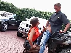 Nerdy chick sits on the bike and lets the guy stuff her tunnel