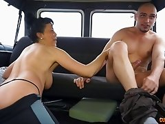 Bald guy provides the experienced short-haired lady with his dick