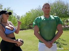 Bombshell sporty blonde slut Nina Elle gets cum on her face