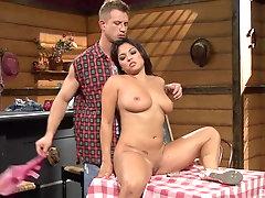 Curvy asian slut Adriana Luna missionary and doggy fucked on the table