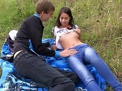 Alluring brunette, Paula Lee, gets fucked at a picnic