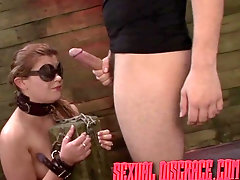 Bound and blindfolded sex slave used by her master