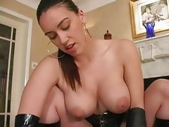 Busty latex girl dominates cock