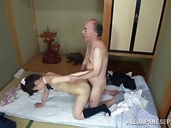 Alluring Asian chick gets her pussy screwed by an old guy