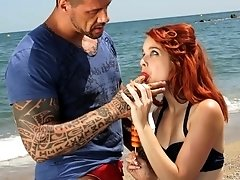 Redhead Amarna Miller rides a long shaft like there is no tomorrow