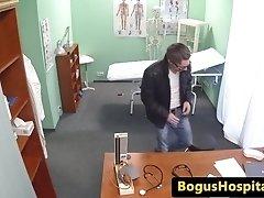 Guy pussyfucks nurse to give a sperm sample