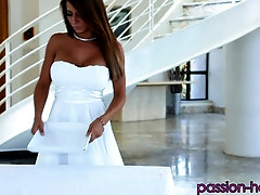 Large-titted milf Madison Ivy pleasuring a boner on her knees
