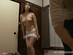 Sensual Asian amateur unpinning her panties before being hammered missionary in reality shoot