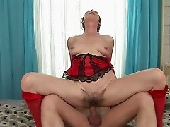 Granny gets her hairy pussy fucked hardcore and creampied