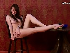 Glasha is a very cute girl and she wants to get totally nude now!