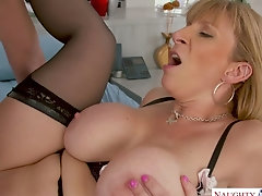 Appetizing bosomy sexpot Sara Jay gets her meaty cunt fucked mish