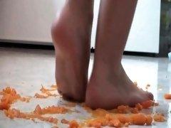 Girls enjoy crush barefoot