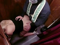 Sinful blonde Victoria gets punish by her priest with a hard fuck