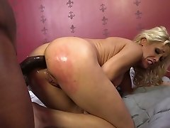 African freak destroys asshole and mouth of busty blond MILF Mikki Lynn