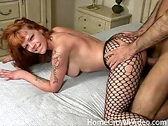 Redhead tries nasty amateur hard sex with her man