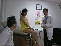 Brunette babe Audrianna Angel takes a double doctor dick juicing in her face
