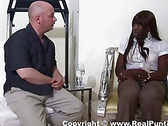 Ebony tries out white cock