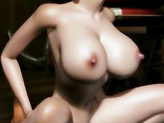 Busty animated babe getting hot sperm